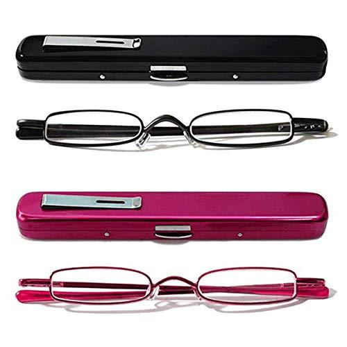 KoKoBin Mini Reading Glasses - 2 Pairs Metal Frame Readers with Spring Hinge Portable Pen Clip for Men Women,Black+Rose red 2.00Strength from KoKoBin