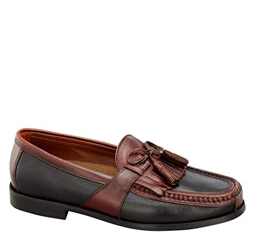 Johnston & Murphy Men's Aragon II Kiltie Tassel Black Smooth/Antique Mahogany Waxed 10 M US from Johnston & Murphy