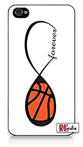 Forever Basketball Infinity Basket Ball iPhone 4 Quality Hard Snap On Case for iPhone 4 4S 4G - AT&T Sprint Verizon - Black Frame