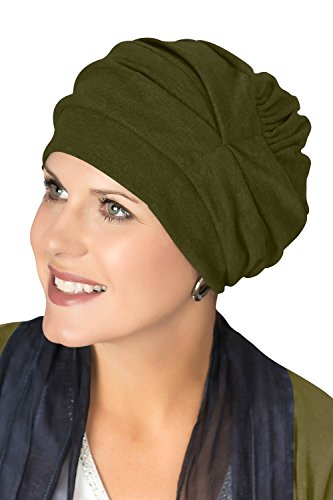 Headcovers Unlimited Trinity Turban-Caps for Women with Chemo Cancer Hair Loss Olive