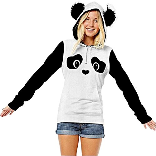 Panda Hoodie (St. Jubileens Women's Cute Panda Print White and Black Fleece Hoodie Sweatshirts Tops Pullover (large))