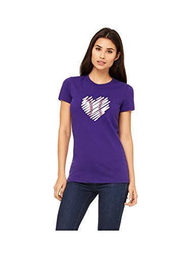 Devious Apparel Scribble Heart Jersey Tee TM-12 Baseball Softball Team Mom Tee Printed Flowy Women's Tank Top - Polyester Blend Cover Up (Purple Tee, Med) ()