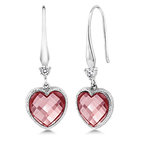 Sterling Silver Heart Shape Checkerboard Pink Created Morganite Women's Dangle Earrings (6.00 cttw, 12MM)