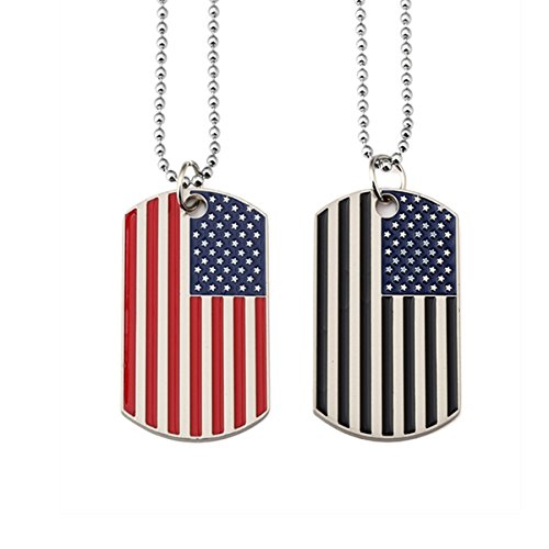 Kings&Pauper 2pcs American Flag USA Patriot Necklace Pendant Jewelry Army Card Stainless Steel Dog Tags 28