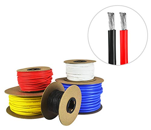 6 AWG Gauge Silicone Wire - Fine Strand Tinned Copper - 3 Feet Red, 3 Feet Black