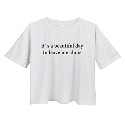 BLACKMYTH Mujer Suelta Crop T-shirt Casual Algodón Redondo Señoras Graphic Tee Blanco