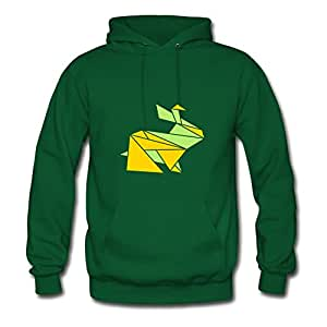 X-large Green Round-collar Puzzle Origami Animals: Shy Bunny Hoody By Monahun - Women