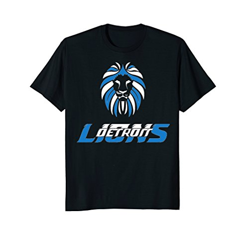 "Mens Detroit Football fan T-Shirt ""Lions"" 2XL Black"