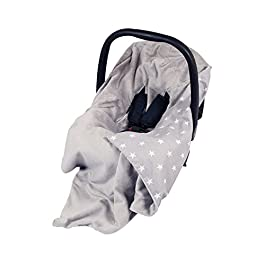 New Double-Sided Baby WRAP for CAR SEAT/Baby Travel WRAP/Baby CAR SEAT Blanket – Grey/Grey with White Stars WRAP/Blanket/Cover/COSYTOES – FOOTMUFF! 100x100cm – WRAP with SEAT Belt Holes