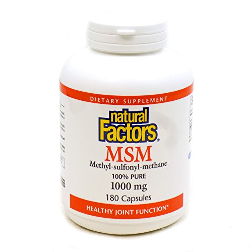Natural Factors - MSM 1000mg, Supports Healthy Joint Function, 180 Capsules