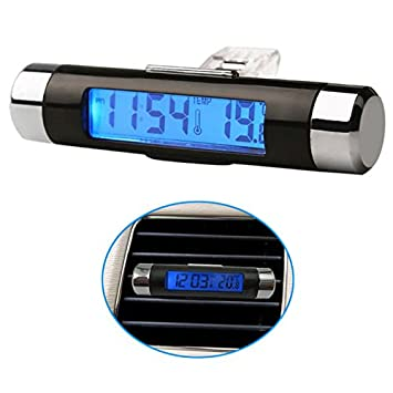 digitales LCD-Display 12/V 24/V 2/in 1/Auto Spannung Meter Uhr Thermometer mit St/änder Zerone Auto Temperatur Thermometer