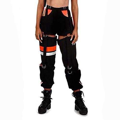 (malianna Women Side Hollow Out Buckle Adjustable Waist Streetwear Hit Color Pants (S, Black))