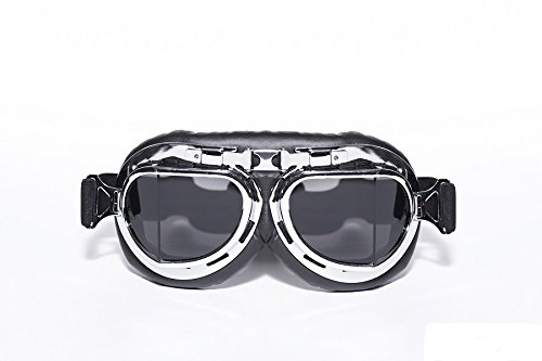 CRG Sports Vintage Aviator Pilot Style Motorcycle Cruiser Scooter Goggle T08 T08STB Smoke lens, silver frame, black padding