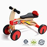 Top Bright Kids First Outdoor Ride On Scooter Wooden Baby Balance Tricycle Bike Toy for Toddlers Learning Gross Motor Skills and Sports Gift for 1-2 Plus Year Boys or Girl
