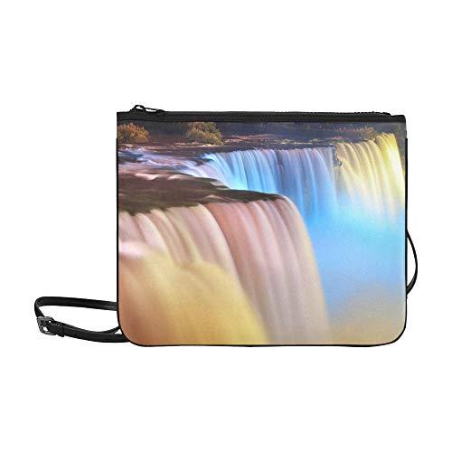 Niagara Falls Lit At Night By Colorful Lights Pattern Custom High-grade Nylon Slim Clutch Bag Cross-body Bag Shoulder Bag (Niagara Falls-outlet-shops)