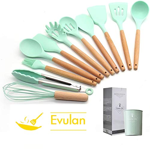 Silicone Cooking Utensils Set by EVULAN – 12 Pieces Natural Wooden Handles Kitchen Cooking Tools with Spatulas for Non Stick Cookware – Silicone Kitchen Utensil Set and Heat Resistant Spatulas