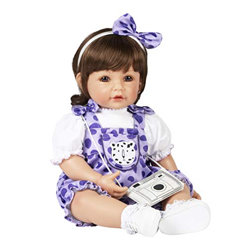 Adora Toddler Doll Cheetah Girl with cheetah print purple romper with matching headband and camera style purse