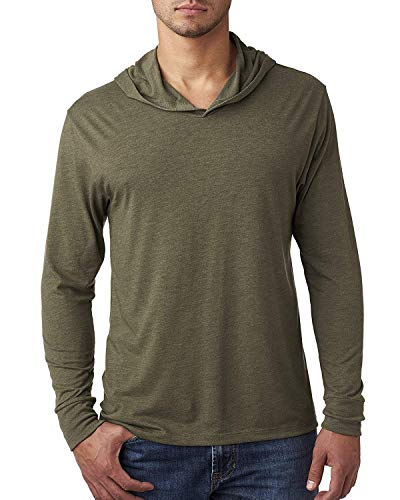 Yoga Clothing For You Mens Triblend Lightweight Hoodie Tee, Military Green, Medium