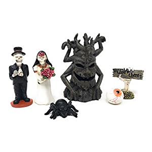 Halloween Fairy Garden Haunted House Characters Figurines 6 Piece Kit Set Home Decor Party Cake Topper Dollhouse Shadow Box Craft Diy Bride Groom Skeleton Spooky Tree Eyeball Spider Hand Multicolor