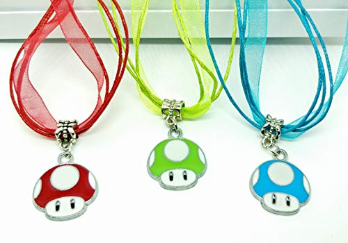 Mario Toad Pendant Charm Enamel Silver Plated Chain Necklace Video Games -