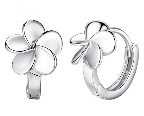 Hosaire Flower Hinged Small Hoop Earrings Elegant in Silver (Flowers Hoop Ring)