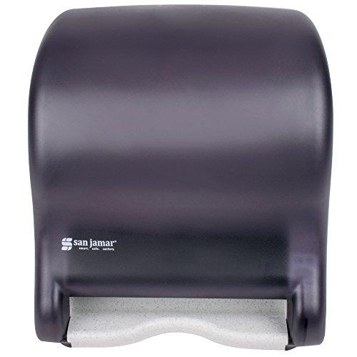 San Jamar T8000TBK Tear-N-Dry Essence Hands Free Roll Towel Dispenser - Black Pearl