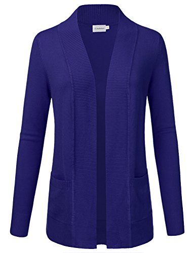 JJ Perfection Women's Open Front Knit Long Sleeve Pockets Sweater Cardigan ROYALBLUE2 2XL by JJ Perfection