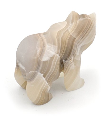 Smoky Grey Stone Grizzly Bear Figure, 4.25 long, Carved from Real North American Onyx – The Artisan Mined Series by hBAR