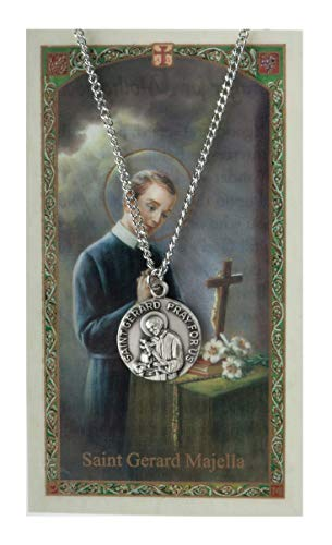 Inspire Nation St Gerard Majella Medal Pendant Necklace Pewter on 18 inch Chain with Prayer Card