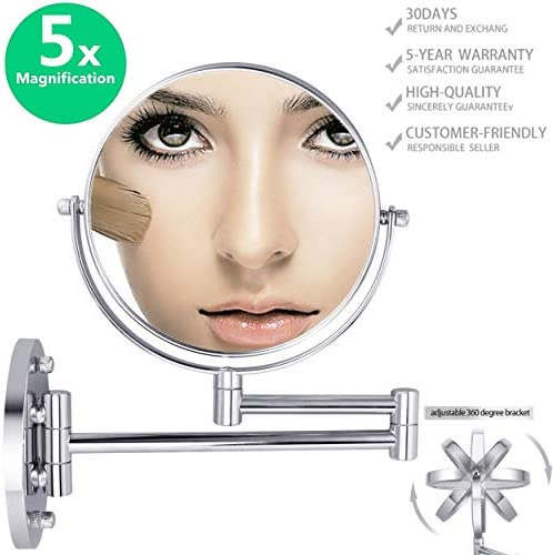 Double-Sided Magnifying Makeup Mirror, 6.7 Diameter 1X 5X Adjustable Magnification Cosmetic Mirror Wall Mounted 360 Rotating Function Vanity Mirror, Chrome Extendable Swivel Mirror