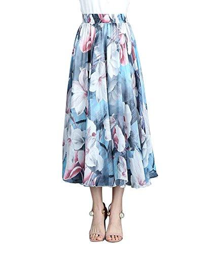 ZiXing Jupe Beach Femme Taille lastique Chiffon Boho Casual Robe Dt Plage Fleur12