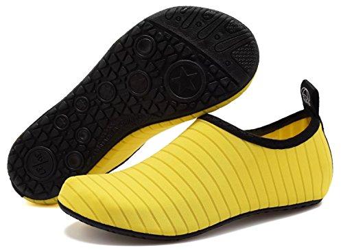 Aosifu Barefoot Water Schoenen Aqua Sokken Surf Zwembad Yoga Strand Zwem Oefening Voor Heren En Dames Geel
