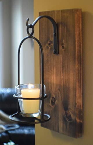 (Rustic Wrought Iron Hanging Candle Sconce 12