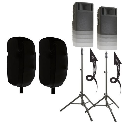 Ultimate TS-100 Speaker Stands with 15-inch Stretch Speaker Covers Black by Ultimate Support
