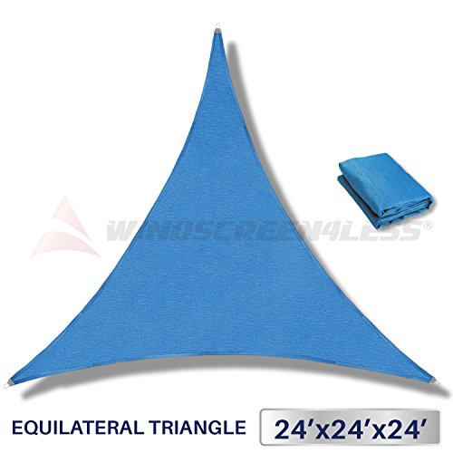 Windscreen4less Metal Spring Reinforcement Large Sun Shade Sail - Equilateral Triangle Heavy Duty Strengthen Durable Outdoor Canopy UV Block Fabric - 5 Year Warranty - 24' x 24' x 24',Blue by Windscreen4less