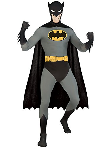 Superhero 2nd Skin Full Body Suit Adult Costume Batman - Black and Grey - Large