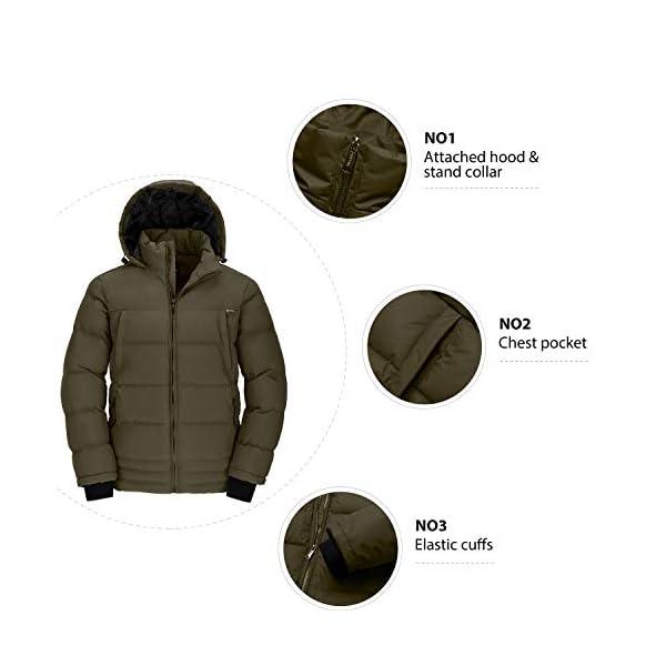 Wantdo Homme Veste Chaude d'hiver à Capuche Veste d'Extérieur Résistante à l'eau Manteau Matelassé en Coton Veste Coupe…
