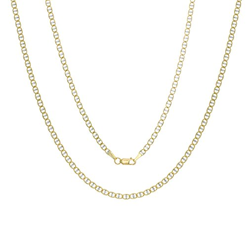 14k White-and-yellow-gold 3 mm Pave Mariner Link Chain, 20 (Yellow Gold Bar Link Chain)