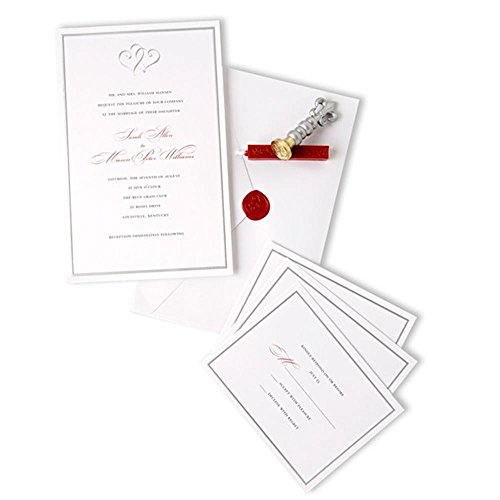 Gartner Studios Invitation Kit, White with Platinum Hearts, 5 1/2