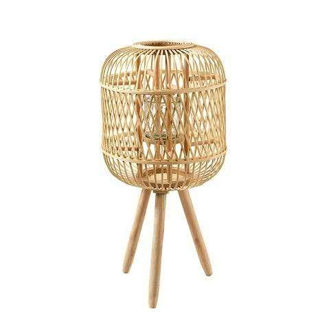 Windlicht/Laterne Bambus auf Füßen mit Glaswindlicht – Hochwertig & Dekorativ – Bambuswindlicht Garten/Gartenlaterne/Gartenwindlicht (Groß: Ø33cm H67cm)