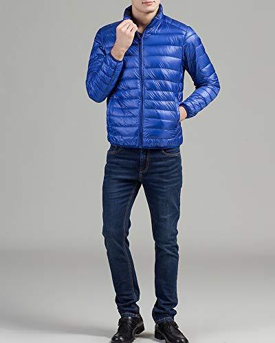 Montant Légère Veste Manteau Blouson Manches À Courte Pour Bleu Couleur Ultra Royal Col Longues Unie Zippée Homme Guocu Compressible Doudoune nf0q14wft