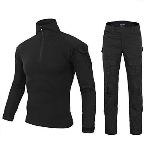 DXdesign Tactical 1/4 Zip Combat Long Sleeve T-Shirt Pants Set Slim Fit Hunting Military Uniform Dry Quick (X-Large, Black Set)