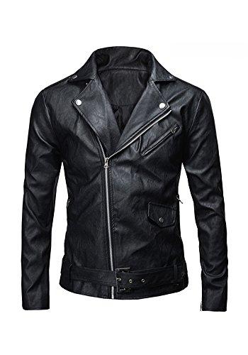 Similpelle Black In Uomo Da Stile Jkqa Moto Giacca Polizia qgwH4x