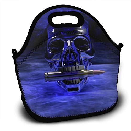 Dejup Lunch Bag Skull Bullet Tote Reusable Insulated Lunchbox, Shoulder Strap with Zipper for Kids, Boys, Girls, Women and Men ()