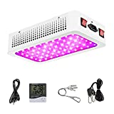 Morsen 600W LED Grow Lights,with Thermometer Humidity Monito and Adjustable Rope,Full Spectrum Double Switch Plant Lights for Greenhouse Indoor Plants Veg and Flower(10W LEDs 60Pcs)