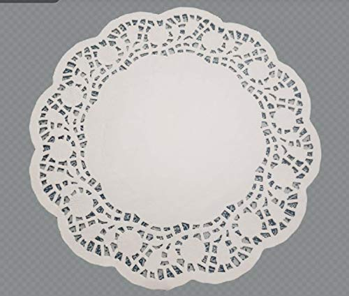 Paper Doilies Lace 10.5 Inches 100 Pieces Round White Color Rose Design Solid Placement Paper Perfect for Wedding, Birthday, Tea Party, Home & Restaurants Tableware Decoration (Pack of 100) (Square Paper Lace Doilies)
