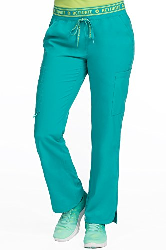Med Couture Activate Scrub Pants Women, Flow Yoga 2 Cargo Pocket Pant, Real Teal, Small