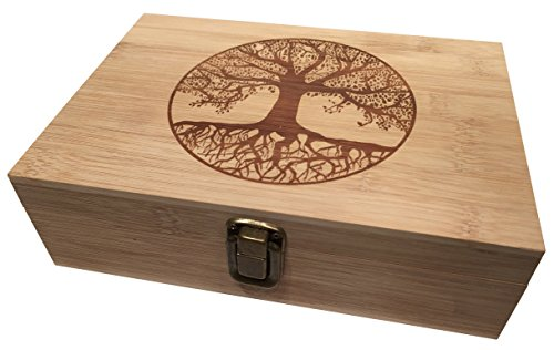 Tree of Life Bamboo Wood Stash Box Engraved with Metal Latch Large Cigar Rolling Papers Jewelry Wooden Decorative Premium Quality Gift for Home (Large) - Cigar Rolling Papers Large
