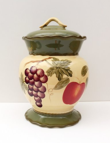 Tuscany Garden Colorful Hand Painted Mixed Fruit, Cookie Jar 12-1/5