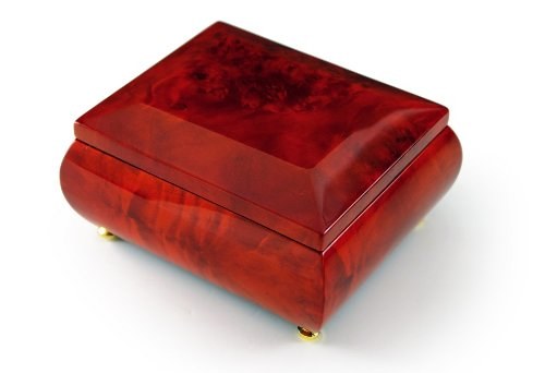 Gorgeous Wood Tone Classic Beveled Top Music Jewelry Box - Blue Hawaii (L Robins) - SWISS by MusicBoxAttic